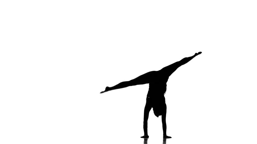 Young women doing calisthenics art gymnastics sport .on a white background