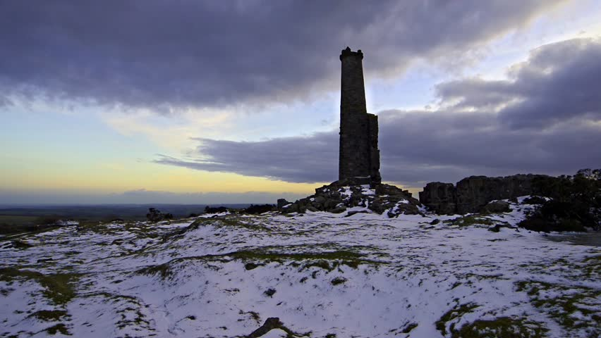Copper Mine ruins on Bodmin Moor in Cornwall - HD stock footage clip