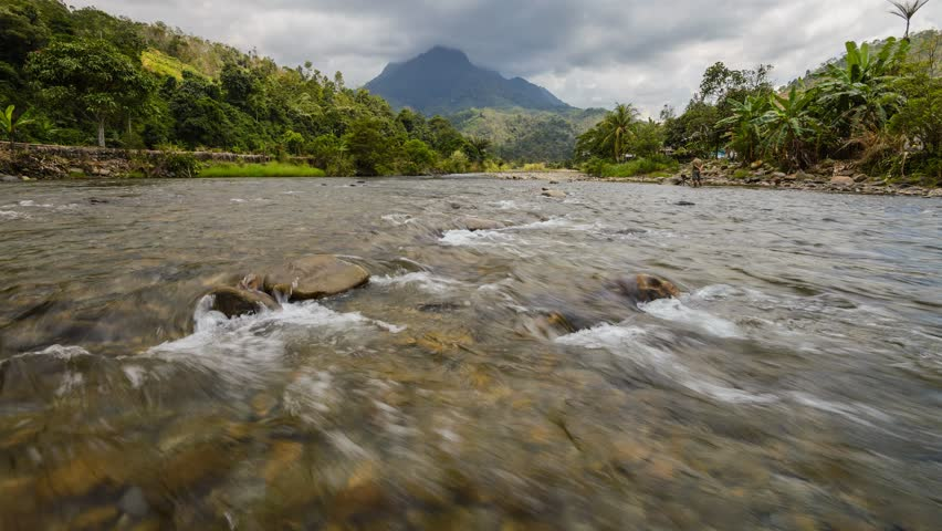 Beautiful Shallow Rapid River With Mount Kinabalu In Background, Time Lapse Pan Up | Shutterstock HD Video #8842618