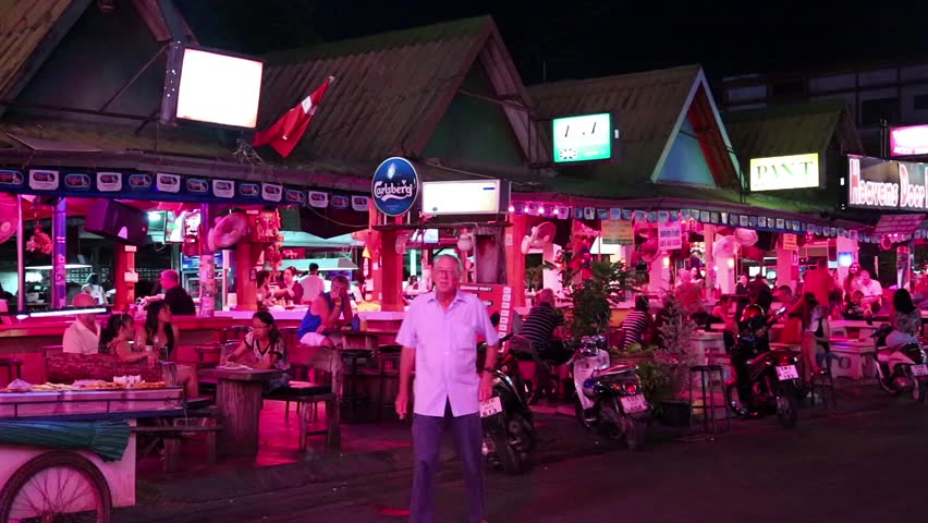 THAILAND, PATTAYA, MARCH 31, 2014: People at red-light district in Pattaya, Thailand - HD stock footage clip