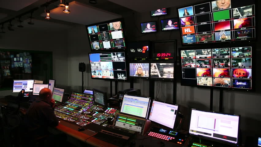 MOSCOW, RUSSIA - FEBRUARY 11, 2015: Many monitors in the control room studio TV channel.