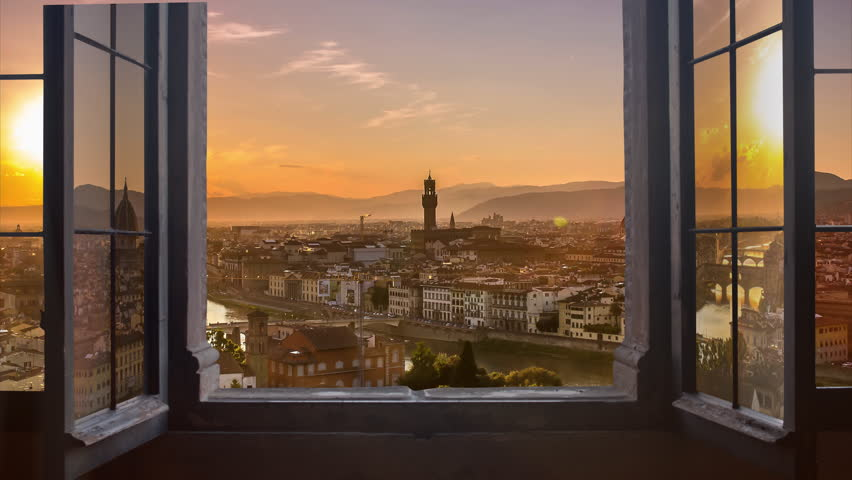Florence skyline seen from an open window aerial day to night timelapse at the sunset to night city lighting up  panorama from piazzale michelangelo 4k