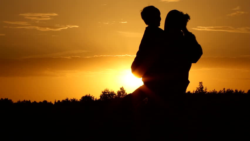 Silhouette, meeting, family - HD stock video clip