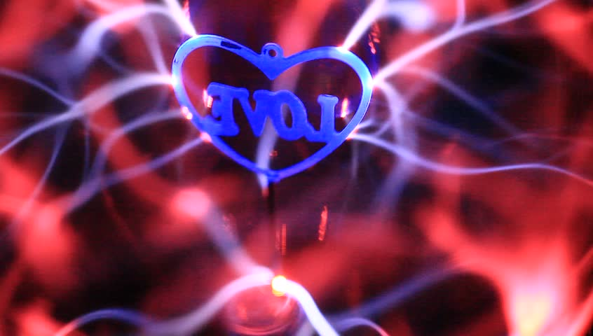 plasma ball with I love u heart in the middle