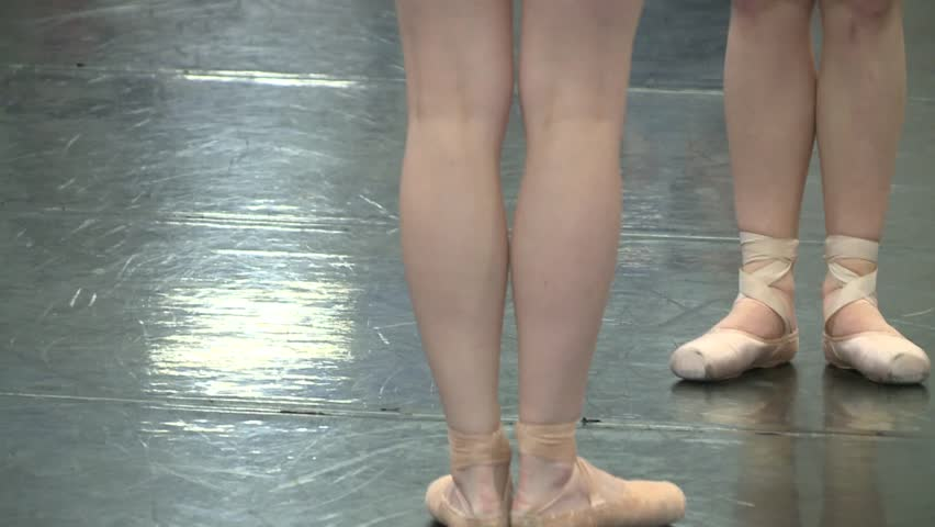 FEET OF BALLET DANCERS DANCER IN SLOW MOTION PERFORMANCE WORKING OUT IN CLASS SCHOOL COLLEGE HIGH DEFINITION 1080 HD 1920X1080 - HD stock video clip