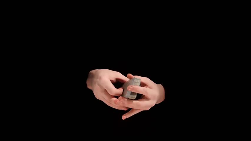 Magician`s man hand shuffle cards on black background, slow motion - HD stock footage clip