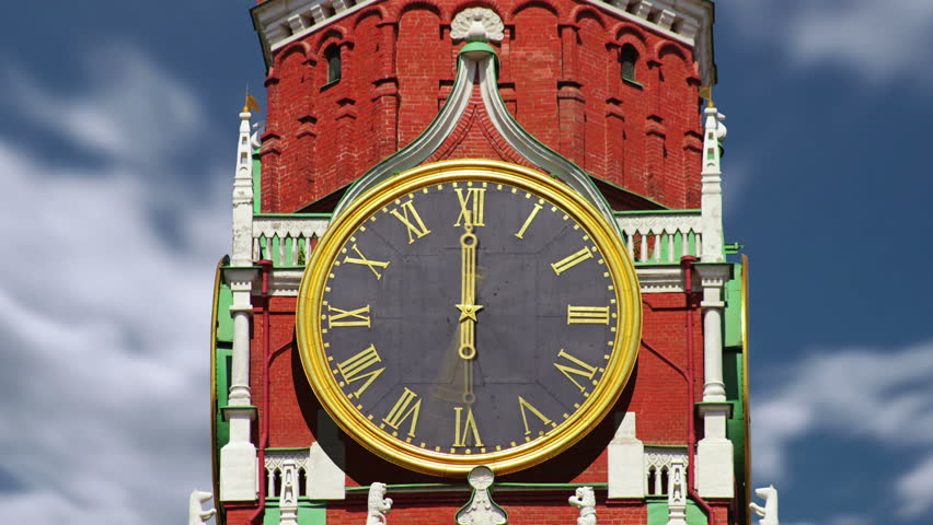 Spasskaya Tower of Moscow Kremlin in Russia. Time lapse. Processing of different visual effects. - HD stock footage clip