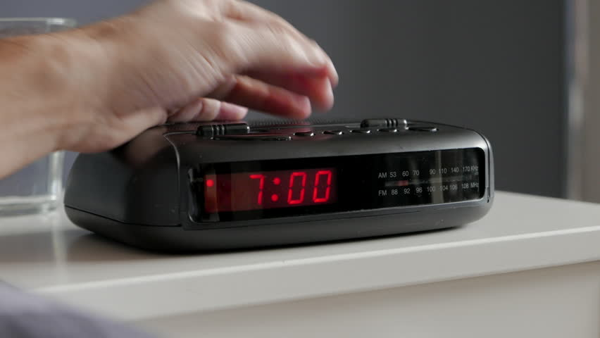 Alarm clock digital ringing, 7am, tired man pushes if of bed table | Shutterstock HD Video #8894296