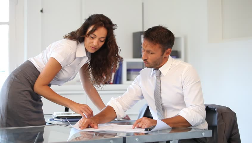 Business partners agreeing on a project - HD stock footage clip