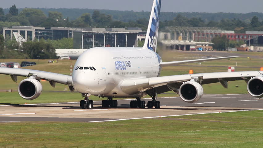 FARNBOROUGH, UK  JULY 17, 2014: Airbus A380 demonstrates a 180 degree taxi turn.