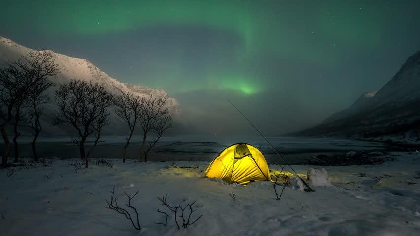 Northern Lights - Grtfjorden, Norway - HD stock video clip
