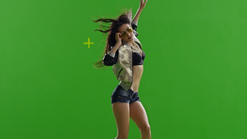 FEW SHOTS! Hot girl dancing. Dances with real strobe lights on body. Slow motion. Green screen. Chroma key. Shot on RED EPIC Cinema Camera. - HD stock footage clip