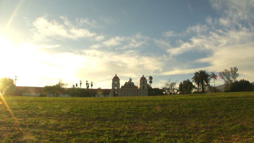 Time lapse footage of Old Mission Santa Barbara during sunset in Santa Barbara, California - HD stock footage clip