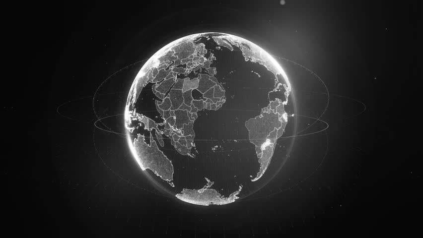 4k loop of rotating dots stylised world globe with orbits and randomly highlighted countries | Shutterstock HD Video #8984863
