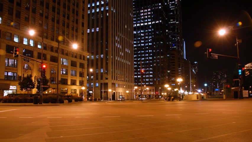 Driving A Chicago Street At Night Stock Footage Video 2020771 Shutterstock