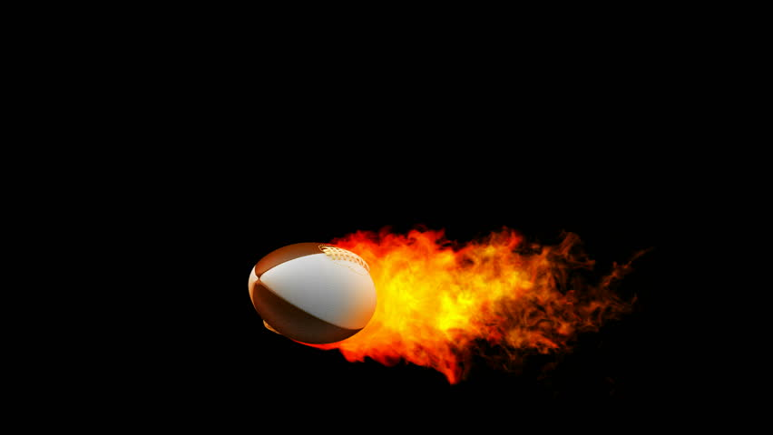 Rugby ball in flames on black background  - HD stock video clip