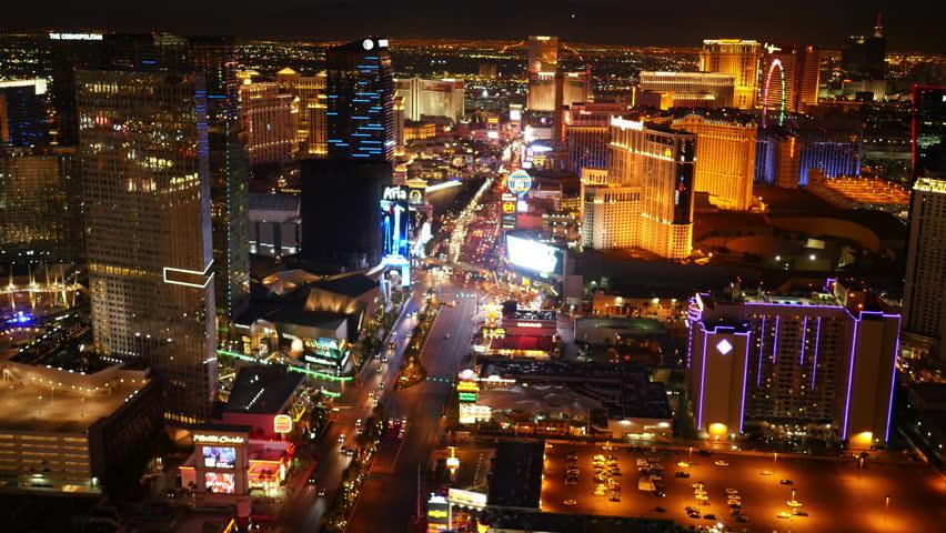 Las Vegas, Nevada, USA - November 26, 2014: Aerial view of Las Vegas Strip at night | Shutterstock HD Video #9002062