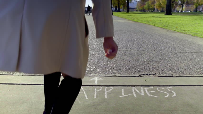"""Teen Writes """"Happiness,"""" And Draws An Arrow With Chalk, On Sidewalk In The Park, Then Walks Away 