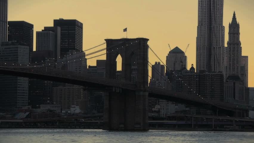 Time Lapse of Brooklyn Bridge - HD stock footage clip