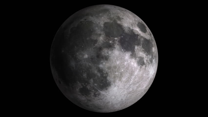 W/Alpha: Moon Phases / Moon Surface / Lunar Surface. Moon phases with visible shaded areas. Realistic libration. Isolated on black background. Includes alpha-matte. (av10783c) - 4K stock video clip
