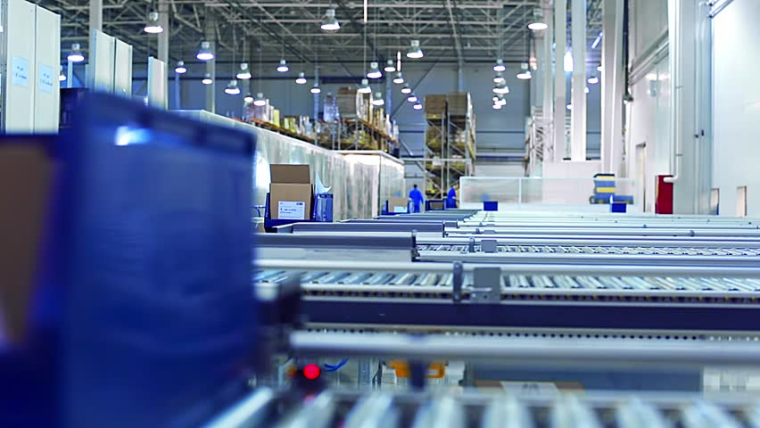 Packaging lines in a warehouse of a modern factory | Shutterstock HD Video #9043714