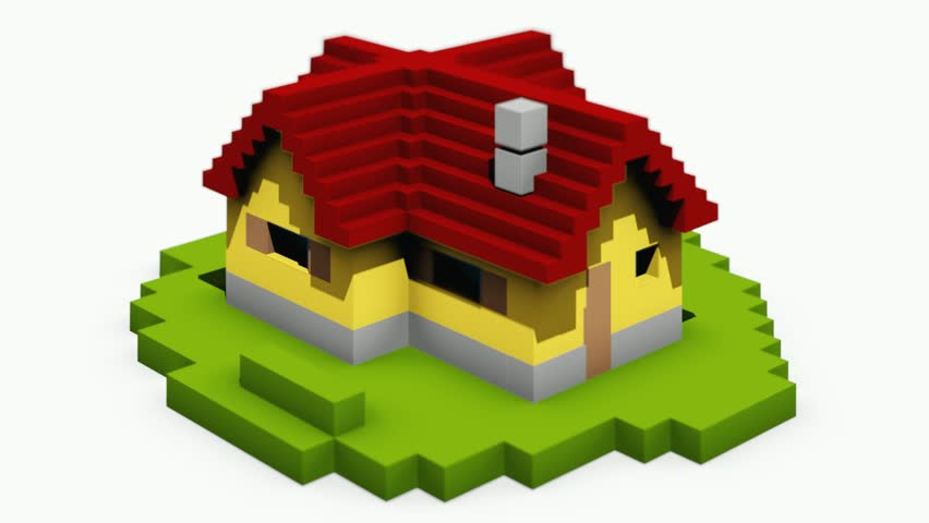 Animated construction (building) of cartoon block house. Falling blocks.  - HD stock footage clip