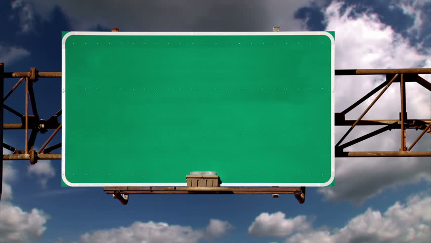 Blank time lapse road sign.