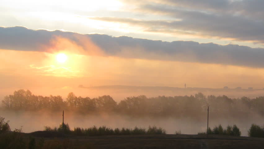 rural mist landscape with sunrise over lake - HD stock footage clip