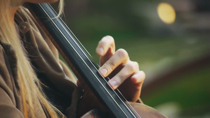 Girl playing cello - HD stock footage clip