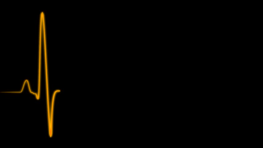 Cardiogram cardiograph oscilloscope screen orange loop