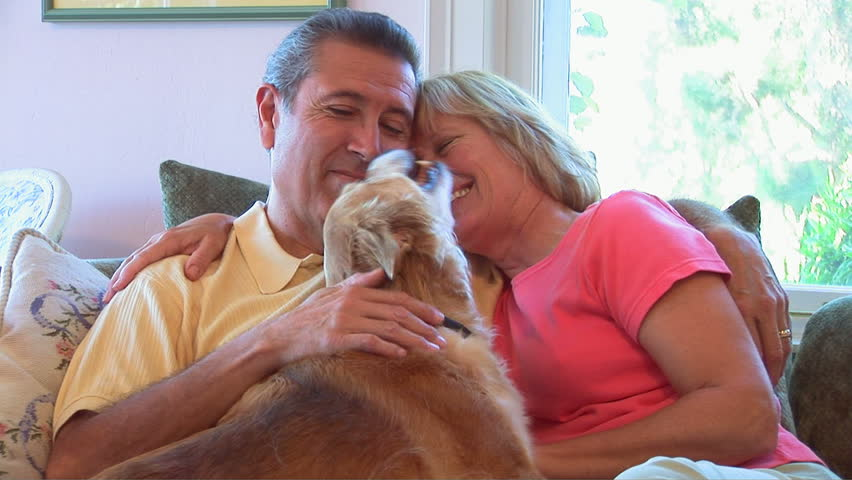 Portrait of mature couple petting dog - HD stock footage clip