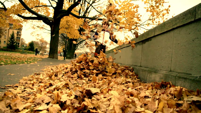 Boy with autumn leaves - HD stock video clip