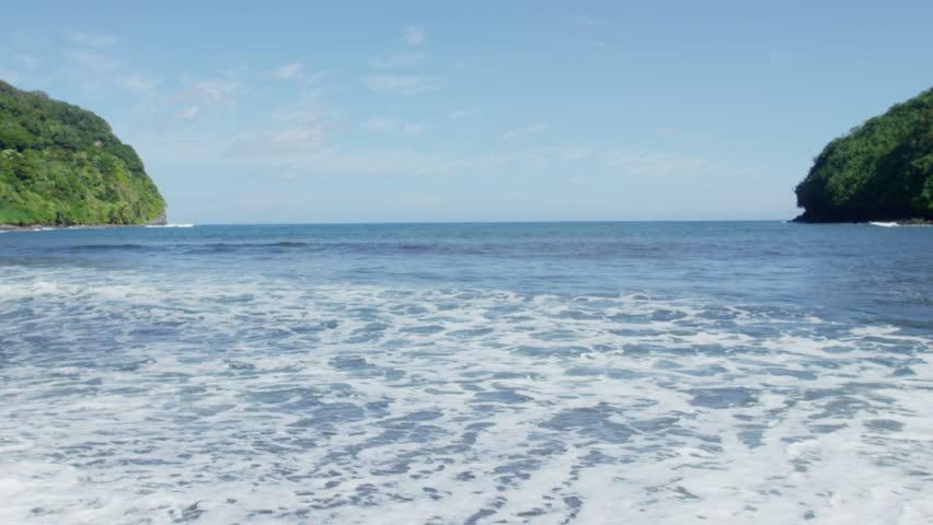 Maui Beach Park, Honomanu Bay, Road to Hana, Red Camera 4k, UHD - 4K stock footage clip