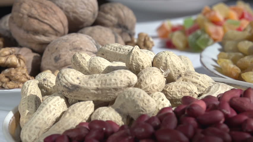 Dry Nuts Hd Free Image: Different Types Of Nuts. Moving Past The Camera Portion Of