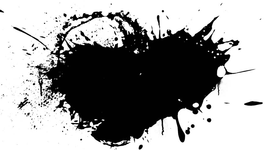 Black ink splashes with alpha channel - HD stock video clip