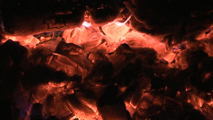 Embers of coal background. Campfire closeup. Natural background - HD stock video clip