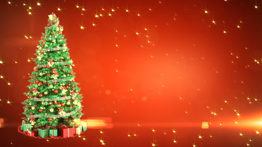 Christmas Tree On Red Background with place for your text. Loop - HD stock video clip
