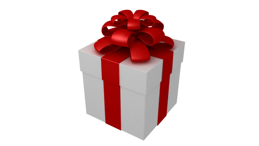 Big Red Gift Box With A White Ribbon Turning Around Stock ...