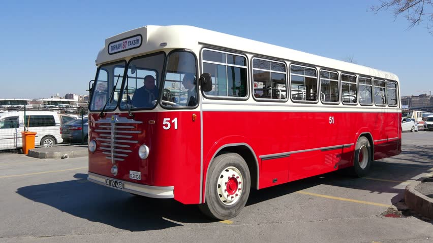 ISTANBUL - APR 1, 2015: Nostalgic buses back on roads. Bussing buses purchased from Germany in 1951. For easy-going travel in Istanbuls narrow streets, Bussing selected as they were nine meters long