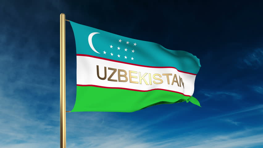 Uzbekistan flag slider style with title. Waving in the wind with cloud background animation