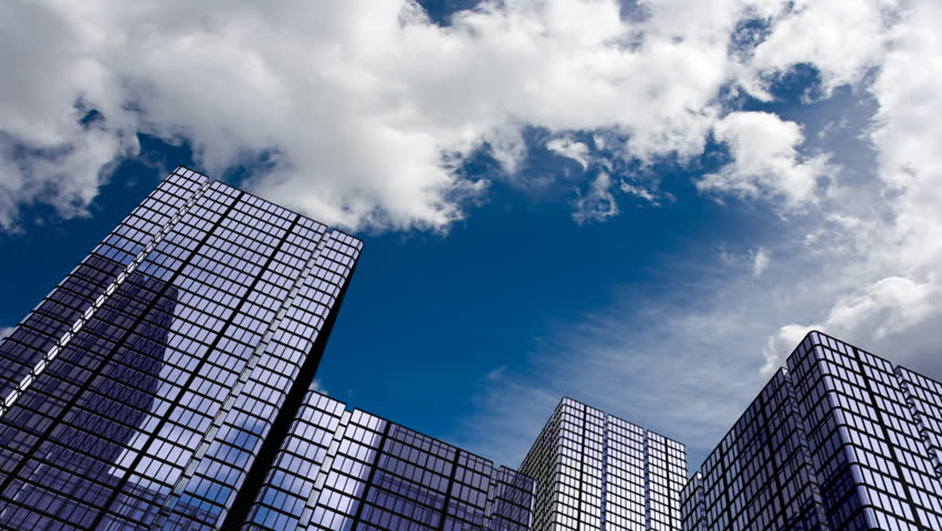 Corporate buildings and time lapse clouds. HD 1080 version. - HD stock video clip