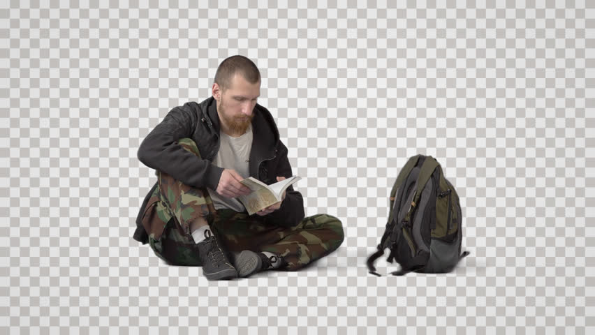 Bearded tourist in khaki sits on floor, waits & reads book. Front view. Footage with alpha channel. File format - mov. Codeck - PNG+Alpha Combine these footage with other people to make crowd effect