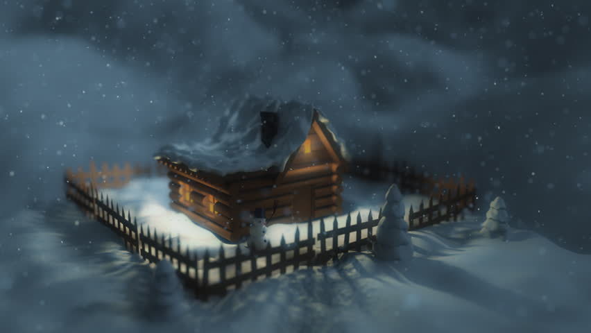 3d close-up to the house in winter environment.