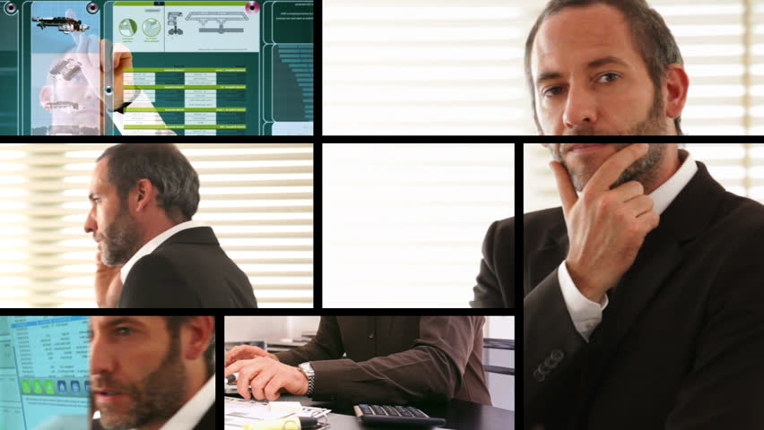 Composition of different business screens with businessman - HD stock video clip