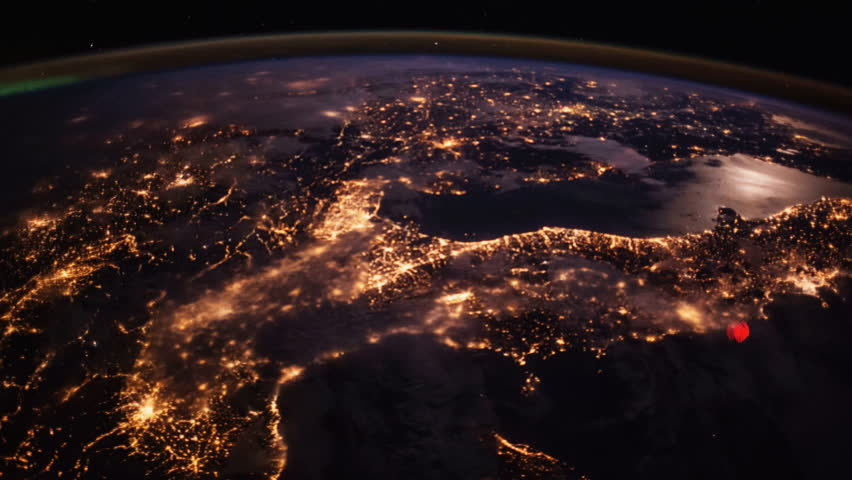 Italy country view at night, view from the ISS International Space Station of planet earth some creative modifications added.Elements of this image provided by NASA (public domain images)