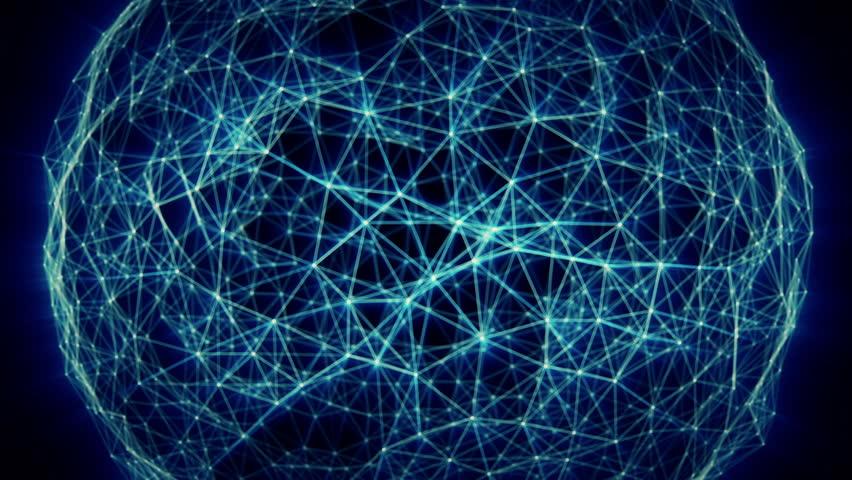 Digital network 3d animation. HD seamless loop