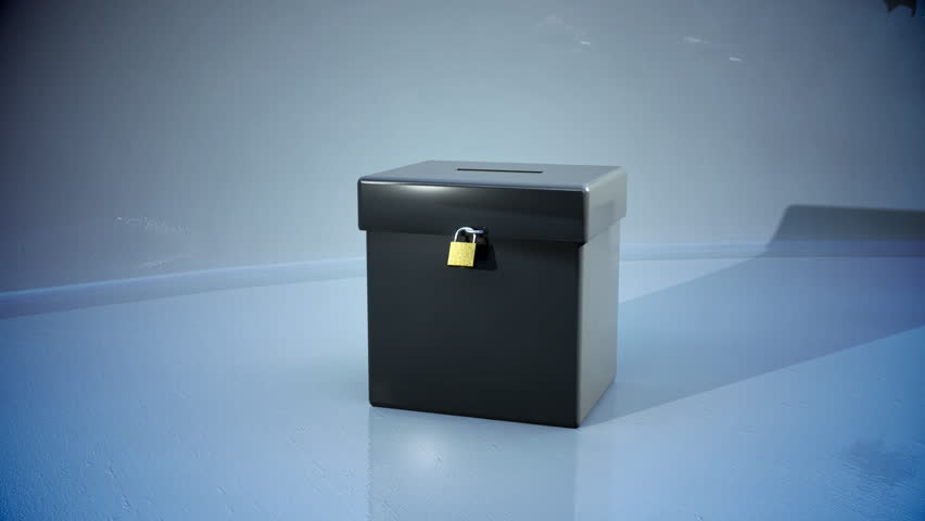 ballot box with votes flying into it  - HD stock footage clip
