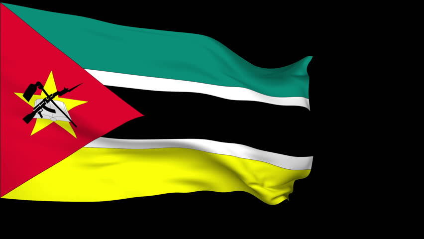 Mozambique flag slowly waving. Alpha included. Seamless loop. - HD stock footage clip