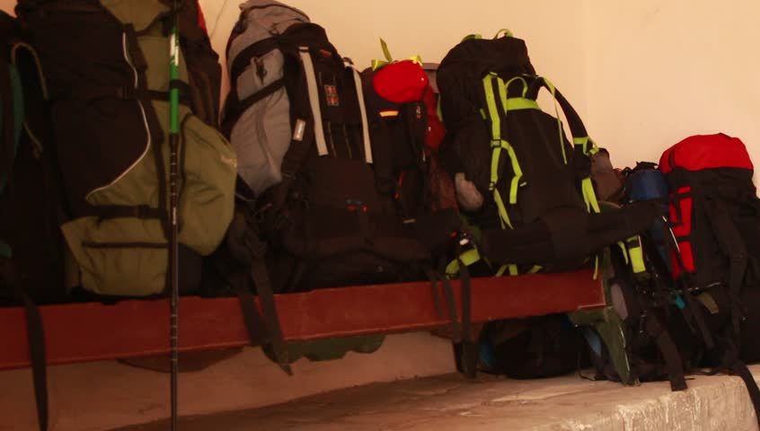 Hiking Bagpacks of touristic group. Vacation, trip and travel bags.