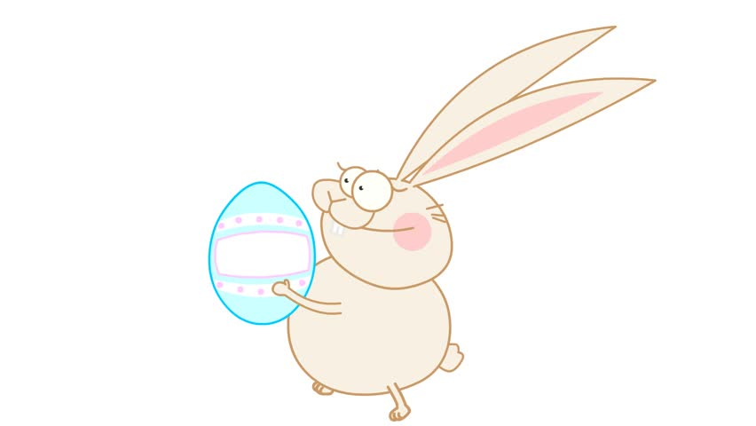 easter bunny run with painted egg - HD stock video clip